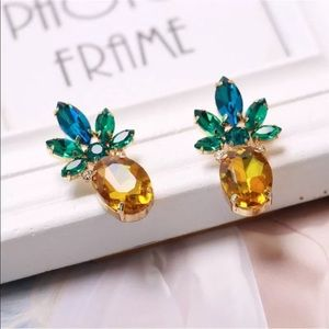 Crystal Gemstone Pineapple Stud Earrings